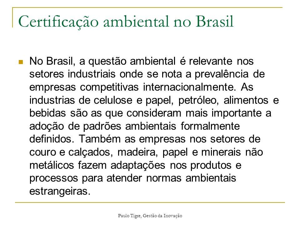 Paulo Tigre, Gestão da Inovação Certificação ambiental no Brasil No Brasil, a questão ambiental é relevante nos setores industriais onde se nota a pre