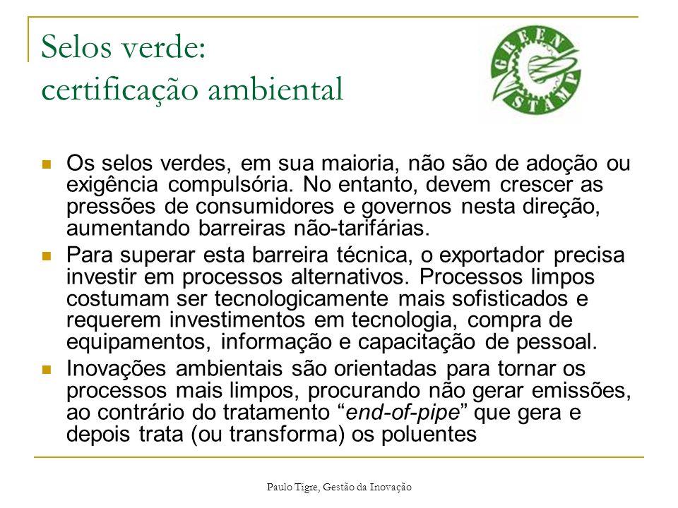 Paulo Tigre, Gestão da Inovação Selos verde: certificação ambiental Os selos verdes, em sua maioria, não são de adoção ou exigência compulsória. No en