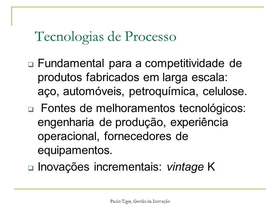 Paulo Tigre, Gestão da Inovação Tecnologias de Processo Fundamental para a competitividade de produtos fabricados em larga escala: aço, automóveis, pe