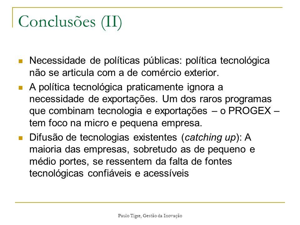 Paulo Tigre, Gestão da Inovação Conclusões (II) Necessidade de políticas públicas: política tecnológica não se articula com a de comércio exterior. A