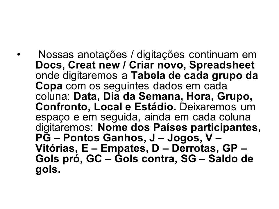 Nossas anotações / digitações continuam em Docs, Creat new / Criar novo, Spreadsheet onde digitaremos a Tabela de cada grupo da Copa com os seguintes