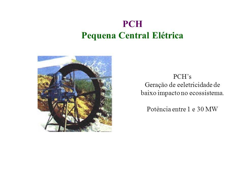 PCH Pequena Central Elétrica PCHs Geração de eeletricidade de baixo impacto no ecossistema. Potência entre 1 e 30 MW