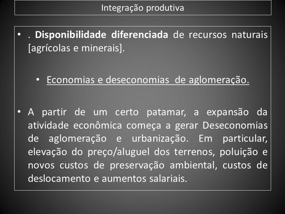 Integração produtiva. Disponibilidade diferenciada de recursos naturais [agrícolas e minerais]. Economias e deseconomias de aglomeração. A partir de u