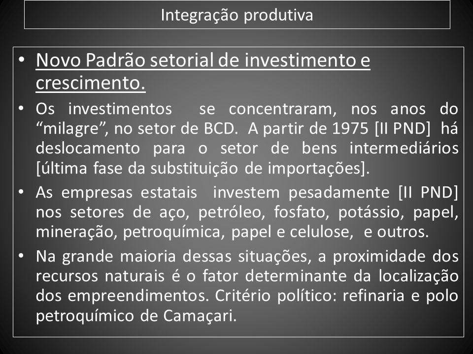 Integração produtiva Novo Padrão setorial de investimento e crescimento. Os investimentos se concentraram, nos anos do milagre, no setor de BCD. A par