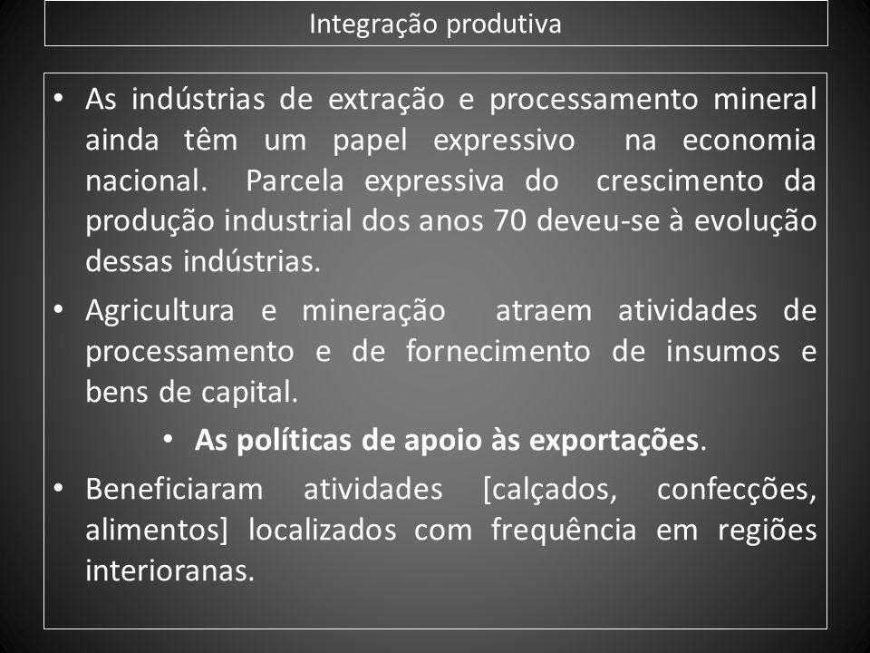 Integração produtiva As indústrias de extração e processamento mineral ainda têm um papel expressivo na economia nacional. Parcela expressiva do cresc
