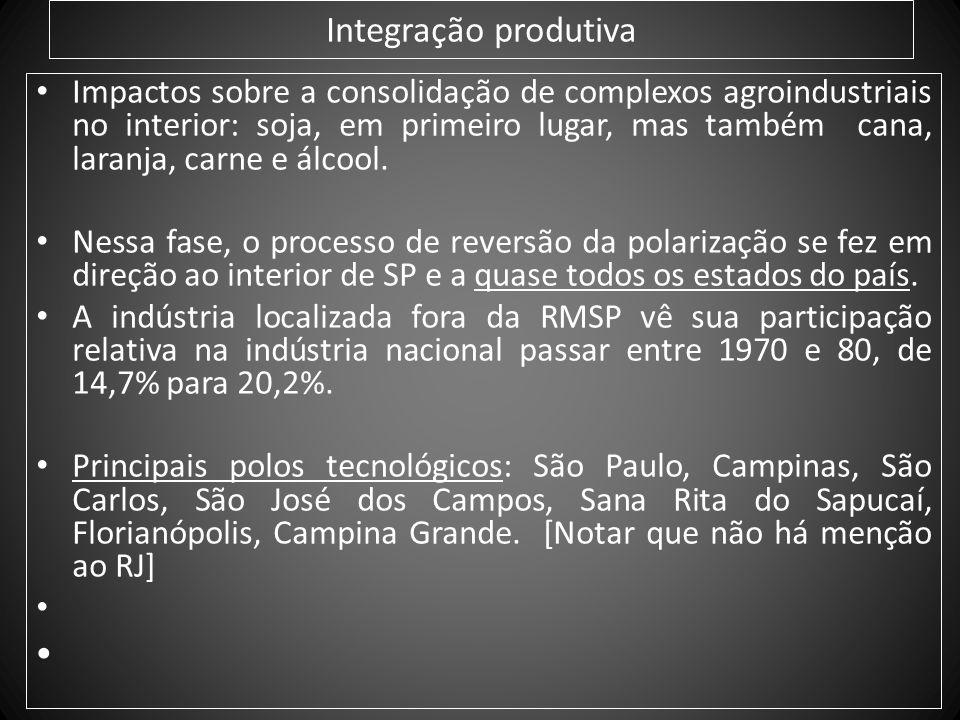 Integração produtiva Impactos sobre a consolidação de complexos agroindustriais no interior: soja, em primeiro lugar, mas também cana, laranja, carne