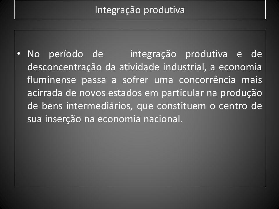 Integração produtiva No período de integração produtiva e de desconcentração da atividade industrial, a economia fluminense passa a sofrer uma concorr