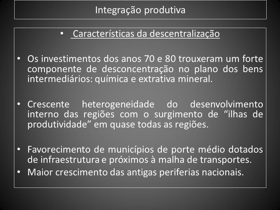 Integração produtiva Características da descentralização Os investimentos dos anos 70 e 80 trouxeram um forte componente de desconcentração no plano d