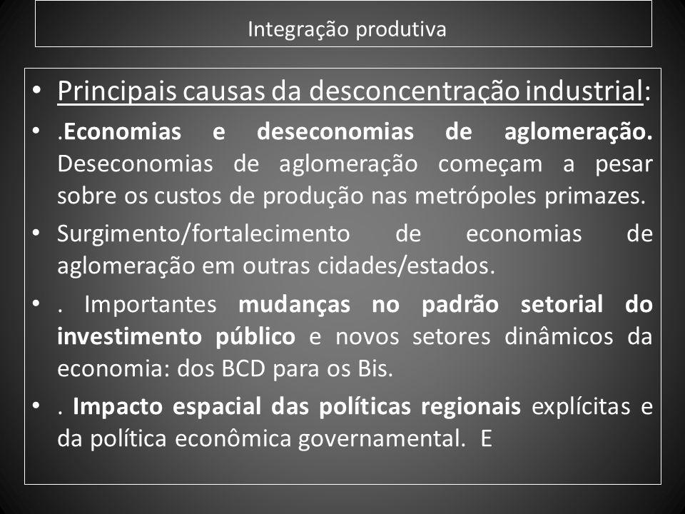 Integração produtiva Principais causas da desconcentração industrial:.Economias e deseconomias de aglomeração. Deseconomias de aglomeração começam a p