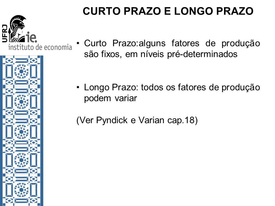 CURTO PRAZO E LONGO PRAZO Curto Prazo:alguns fatores de produção são fixos, em níveis pré-determinados Longo Prazo: todos os fatores de produção podem