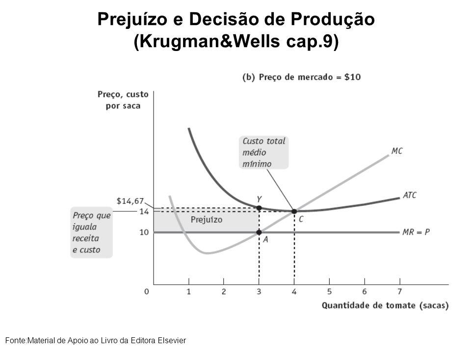 Prejuízo e Decisão de Produção (Krugman&Wells cap.9) Fonte:Material de Apoio ao Livro da Editora Elsevier