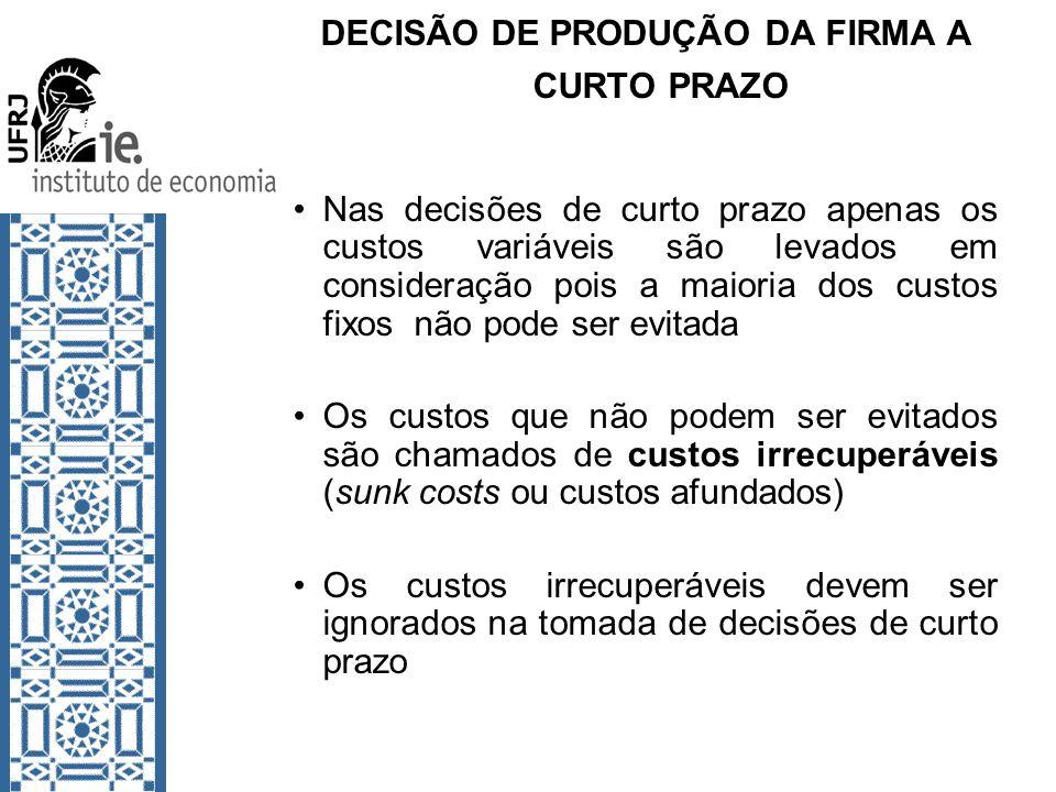 DECISÃO DE PRODUÇÃO DA FIRMA A CURTO PRAZO Nas decisões de curto prazo apenas os custos variáveis são levados em consideração pois a maioria dos custo