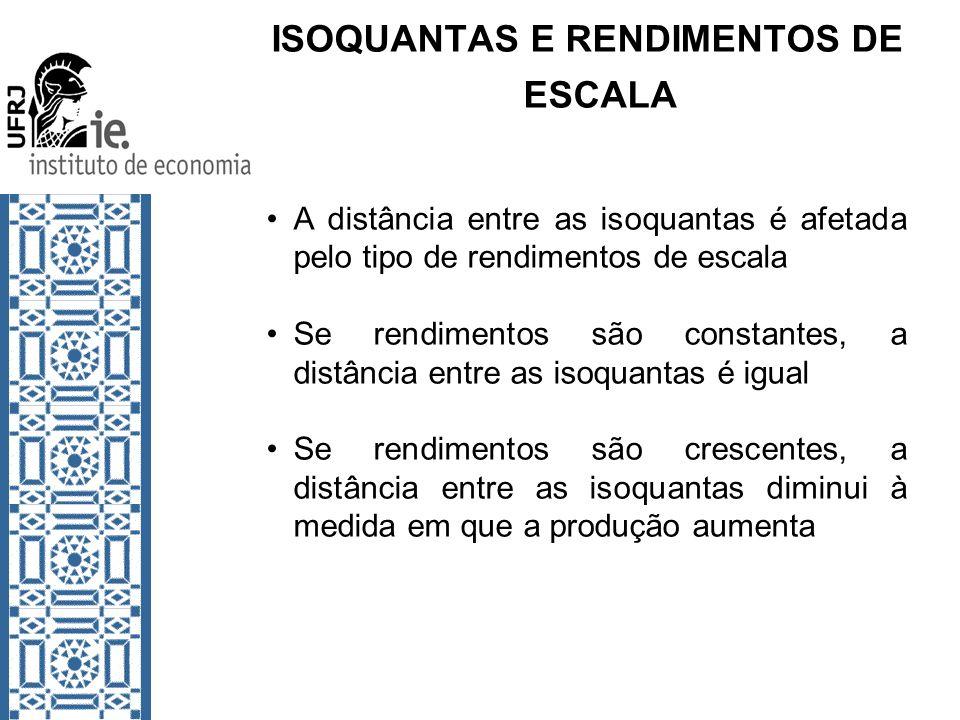 ISOQUANTAS E RENDIMENTOS DE ESCALA A distância entre as isoquantas é afetada pelo tipo de rendimentos de escala Se rendimentos são constantes, a distâ