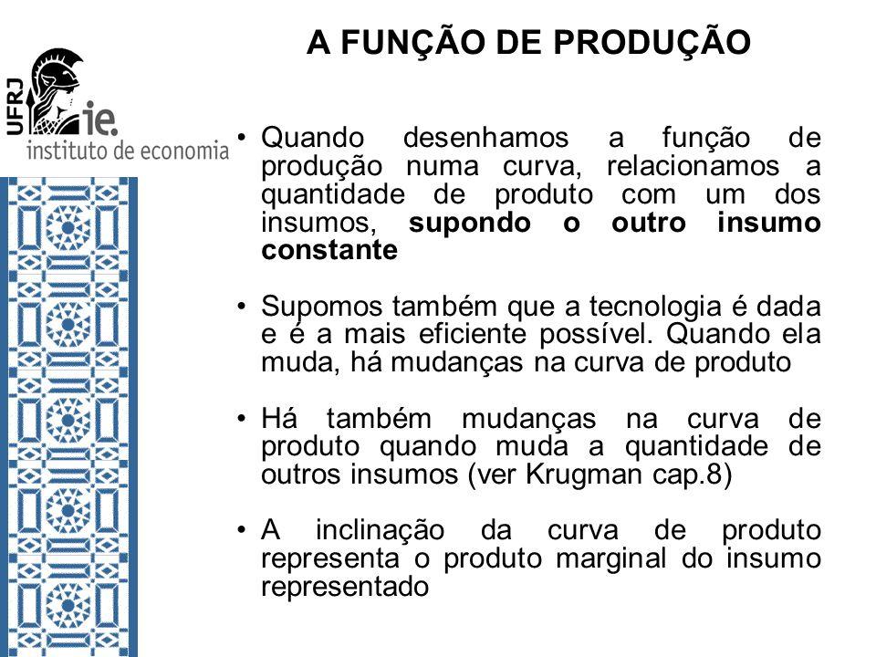A FUNÇÃO DE PRODUÇÃO Quando desenhamos a função de produção numa curva, relacionamos a quantidade de produto com um dos insumos, supondo o outro insum