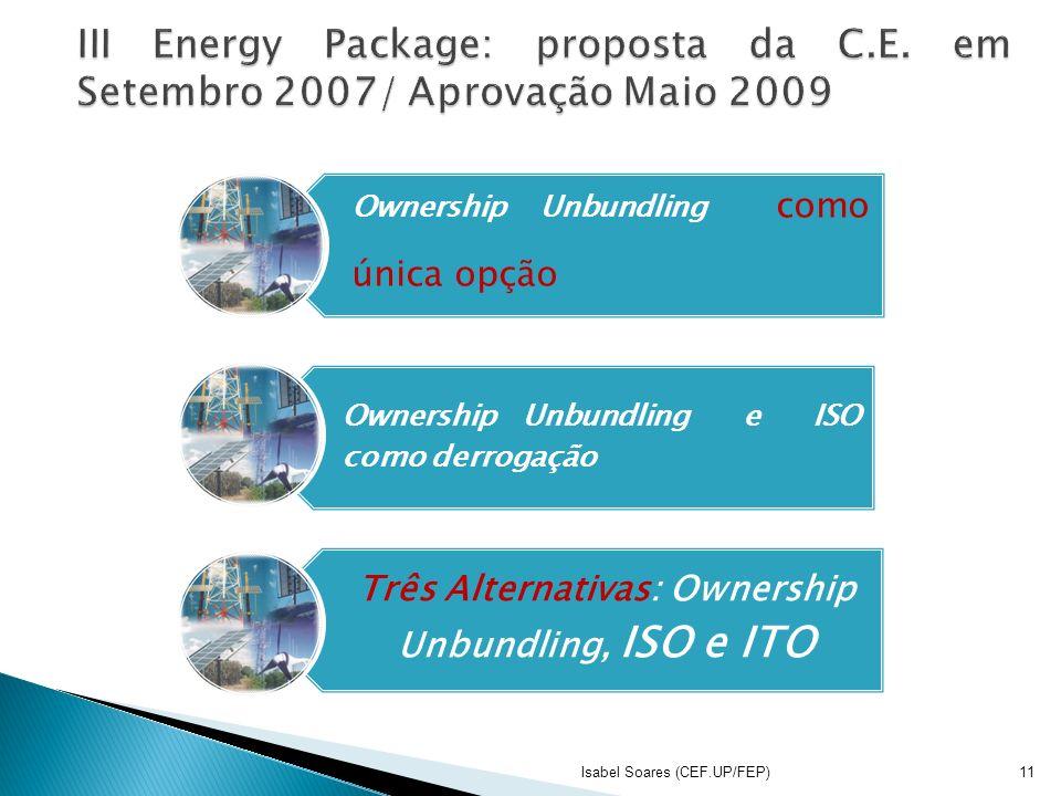Ownership Unbundling como única opção Ownership Unbundling e ISO como derrogação Três Alternativas: Ownership Unbundling, ISO e ITO Isabel Soares (CEF