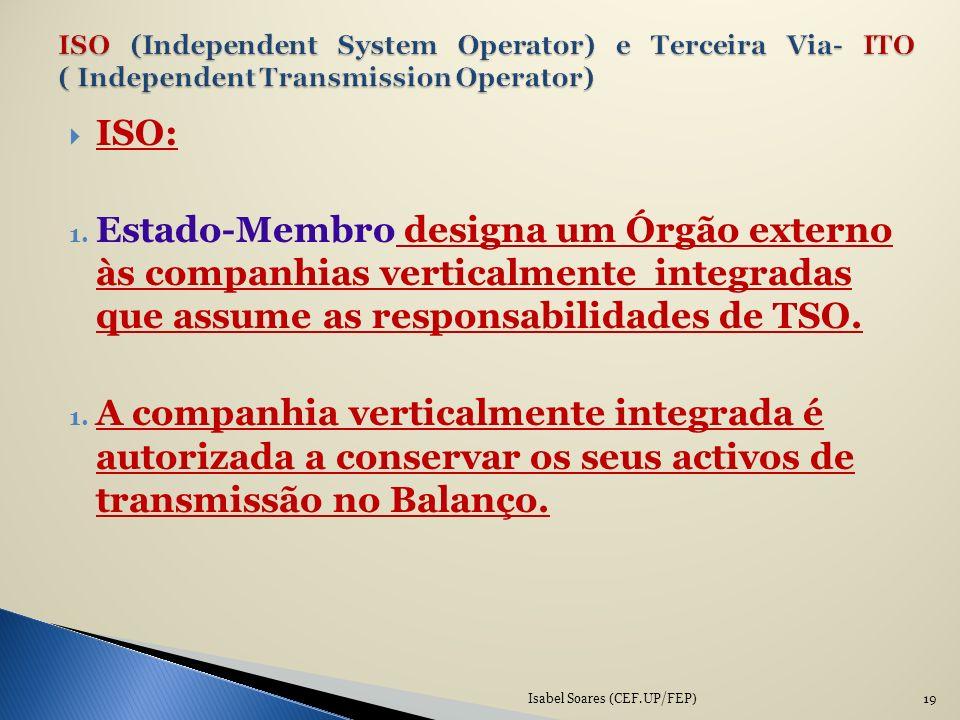 ISO: 1. Estado-Membro designa um Órgão externo às companhias verticalmente integradas que assume as responsabilidades de TSO. 1. A companhia verticalm