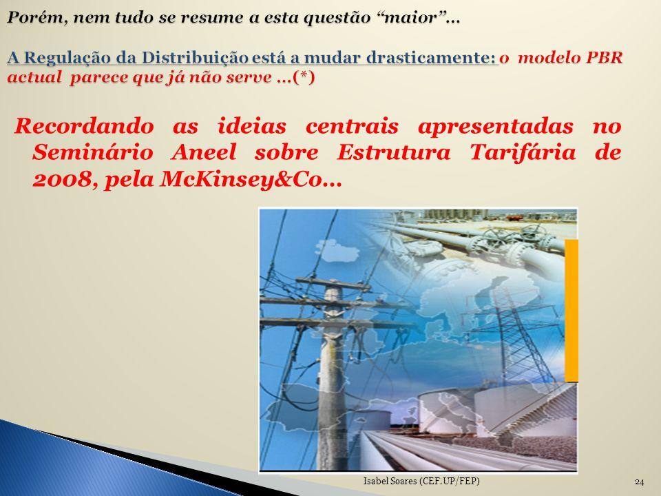 Recordando as ideias centrais apresentadas no Seminário Aneel sobre Estrutura Tarifária de 2008, pela McKinsey&Co… Isabel Soares (CEF.UP/FEP)24