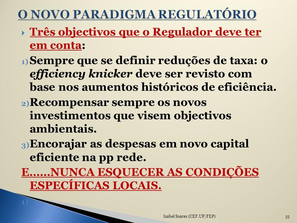 Três objectivos que o Regulador deve ter em conta: 1) Sempre que se definir reduções de taxa: o efficiency knicker deve ser revisto com base nos aumen