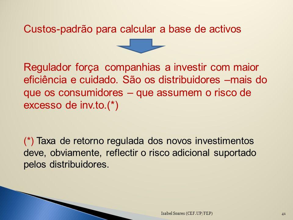 Isabel Soares (CEF.UP/FEP)41 Custos-padrão para calcular a base de activos Regulador força companhias a investir com maior eficiência e cuidado. São o