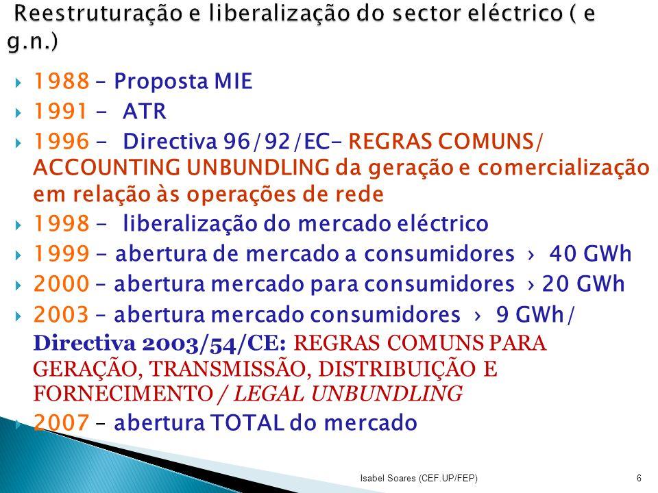 1988 – Proposta MIE 1991 - ATR 1996 - Directiva 96/92/EC- REGRAS COMUNS/ ACCOUNTING UNBUNDLING da geração e comercialização em relação às operações de