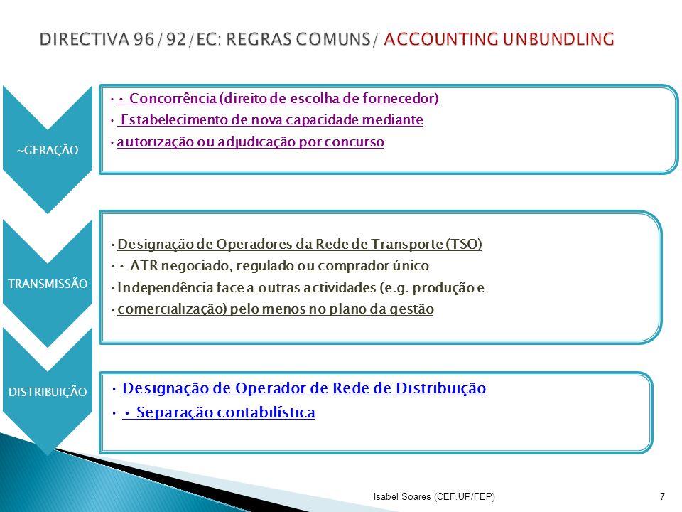 ~GERAÇÃO Concorrência (direito de escolha de fornecedor) Estabelecimento de nova capacidade mediante autorização ou adjudicação por concurso TRANSMISS
