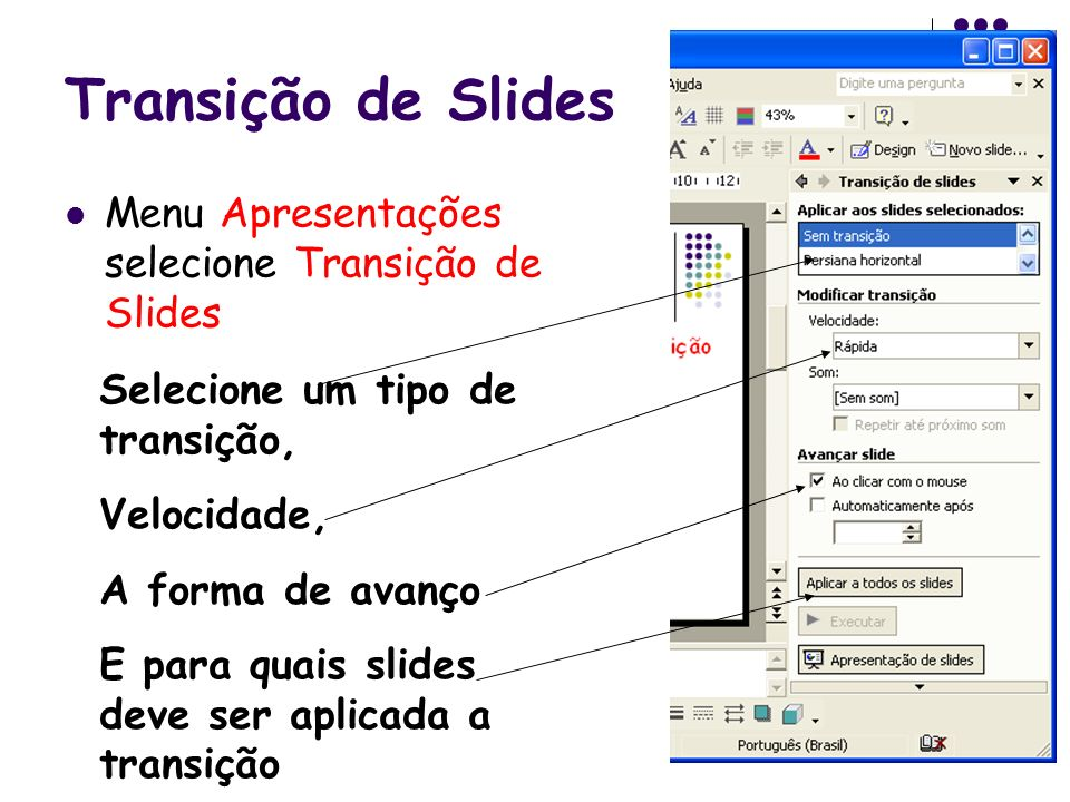 Transição de Slides Menu Apresentações selecione Transição de Slides Selecione um tipo de transição, Velocidade, A forma de avanço E para quais slides