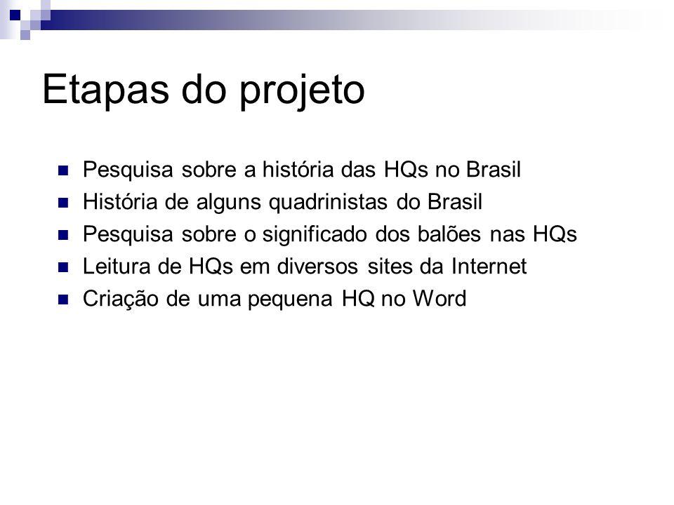 Etapas do projeto Pesquisa sobre a história das HQs no Brasil História de alguns quadrinistas do Brasil Pesquisa sobre o significado dos balões nas HQ