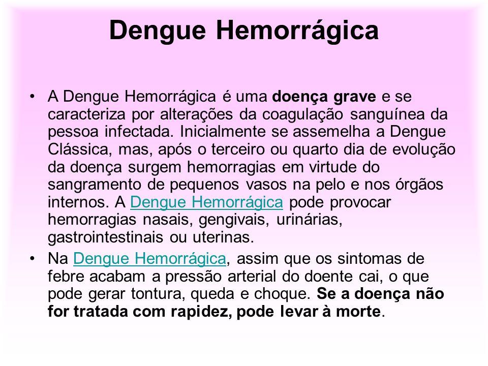 Dengue Hemorrágica A Dengue Hemorrágica é uma doença grave e se caracteriza por alterações da coagulação sanguínea da pessoa infectada. Inicialmente s