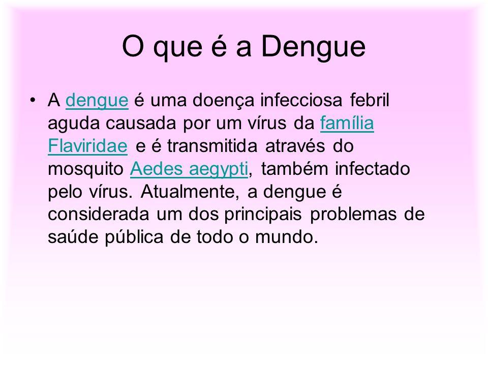 O que é a Dengue A dengue é uma doença infecciosa febril aguda causada por um vírus da família Flaviridae e é transmitida através do mosquito Aedes ae