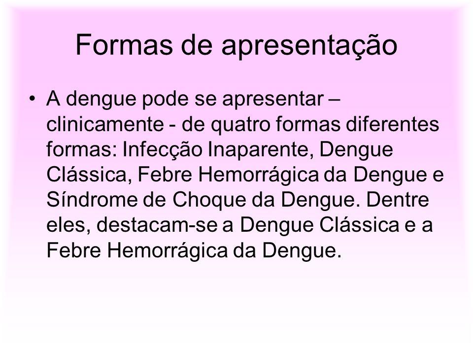 Formas de apresentação A dengue pode se apresentar – clinicamente - de quatro formas diferentes formas: Infecção Inaparente, Dengue Clássica, Febre He