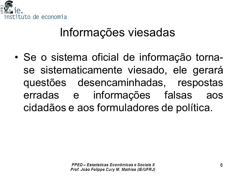 PPED – Estatísticas Econômicas e Sociais II Prof.João Felippe Cury M.