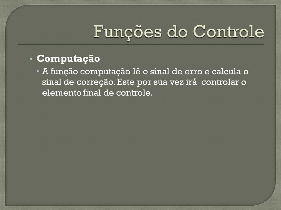 Computação A função computação lê o sinal de erro e calcula o sinal de correção. Este por sua vez irá controlar o elemento final de controle.