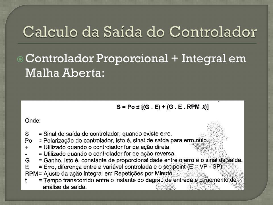 Controlador Proporcional + Integral em Malha Aberta: