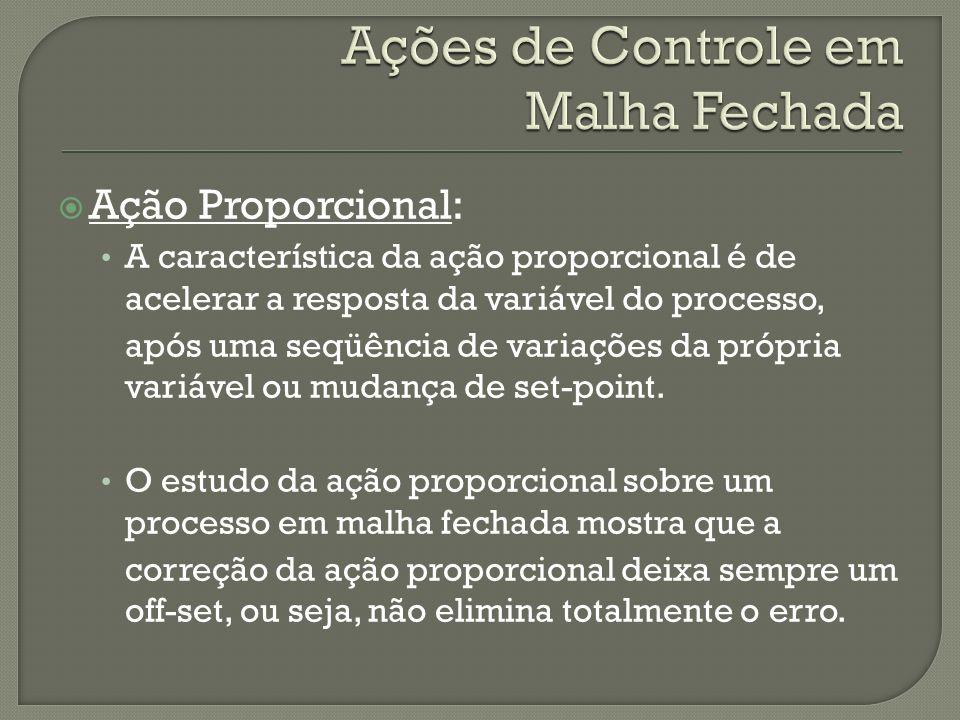 Ação Proporcional: A característica da ação proporcional é de acelerar a resposta da variável do processo, após uma seqüência de variações da própria