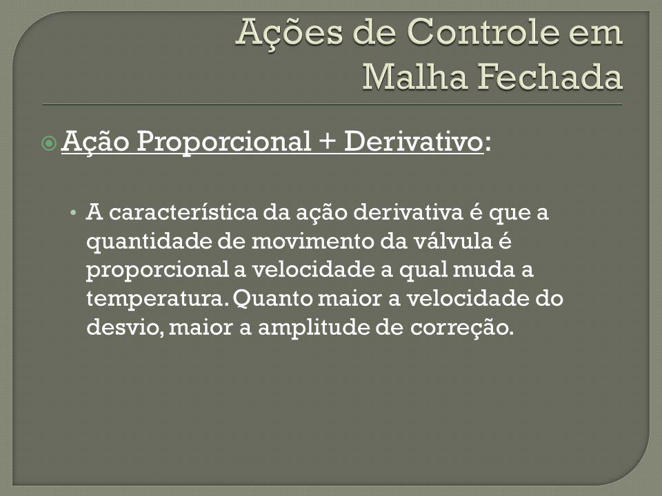 Ação Proporcional + Derivativo: A característica da ação derivativa é que a quantidade de movimento da válvula é proporcional a velocidade a qual muda