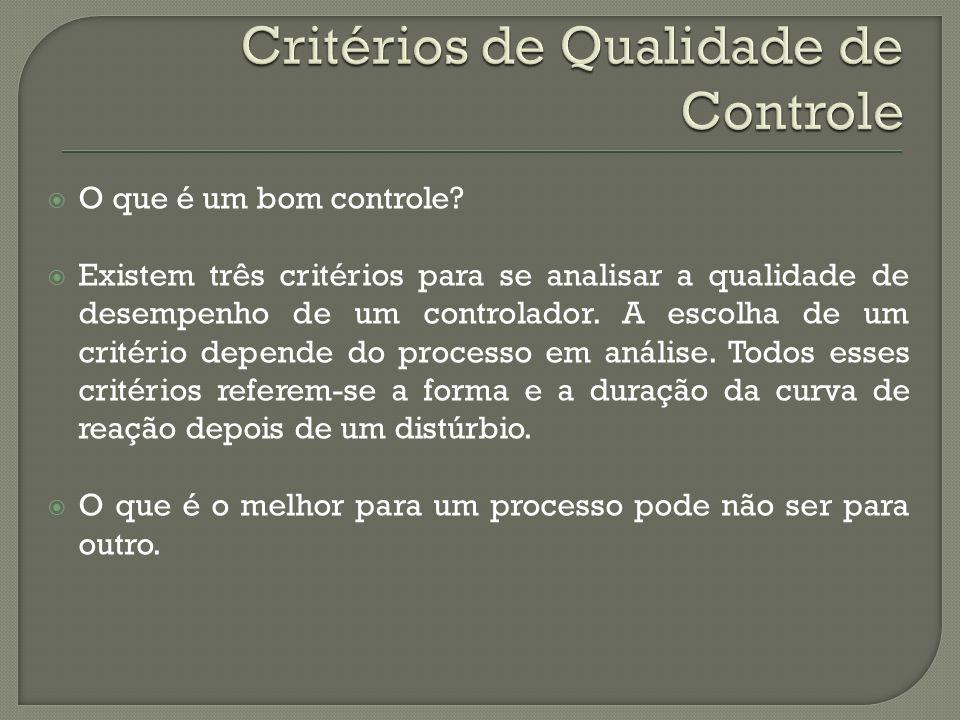 O que é um bom controle? Existem três critérios para se analisar a qualidade de desempenho de um controlador. A escolha de um critério depende do proc