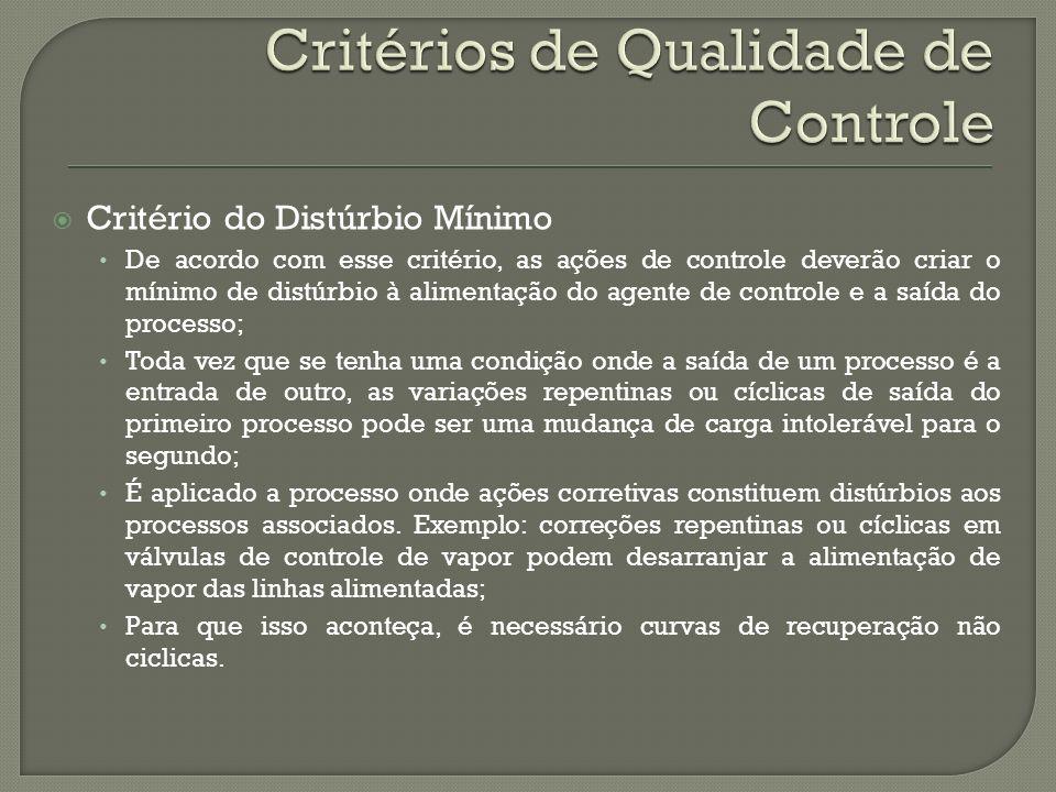 Critério do Distúrbio Mínimo De acordo com esse critério, as ações de controle deverão criar o mínimo de distúrbio à alimentação do agente de controle