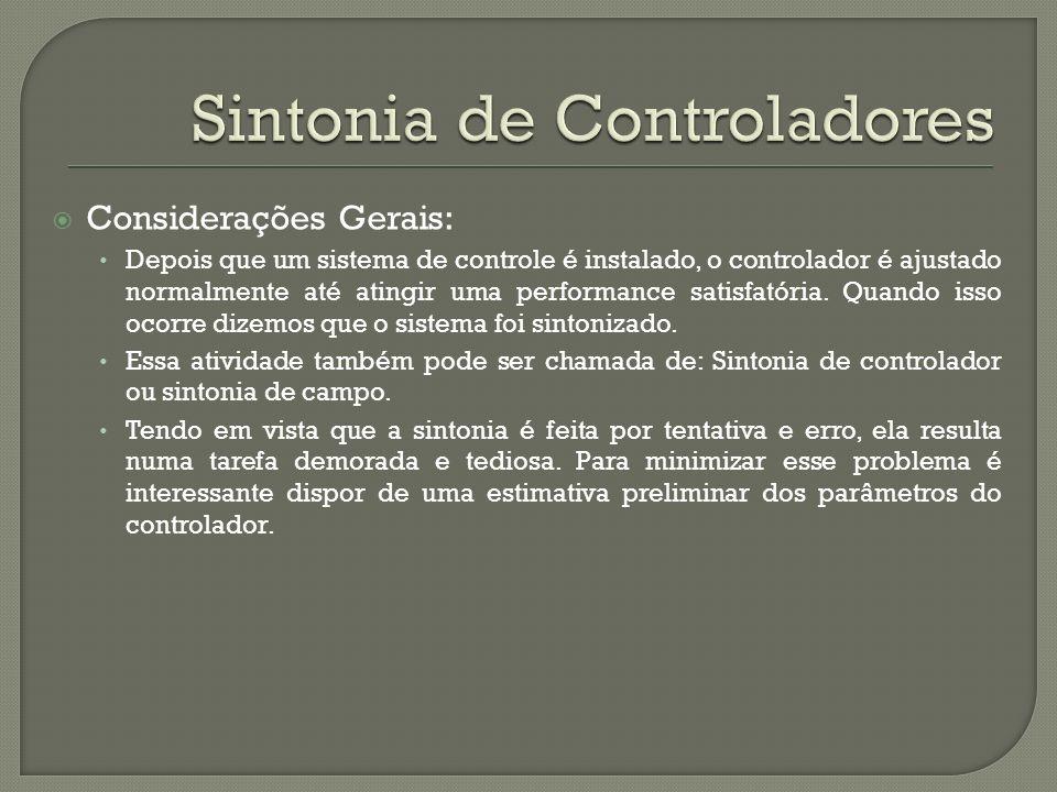 Considerações Gerais: Depois que um sistema de controle é instalado, o controlador é ajustado normalmente até atingir uma performance satisfatória. Qu