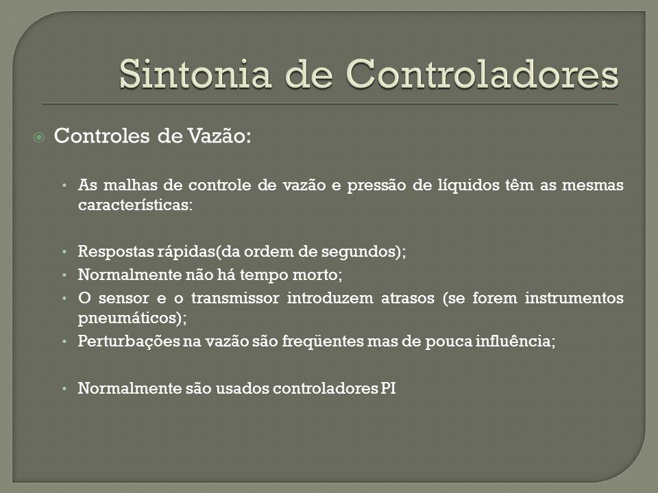 Controles de Vazão: As malhas de controle de vazão e pressão de líquidos têm as mesmas características: Respostas rápidas(da ordem de segundos); Norma