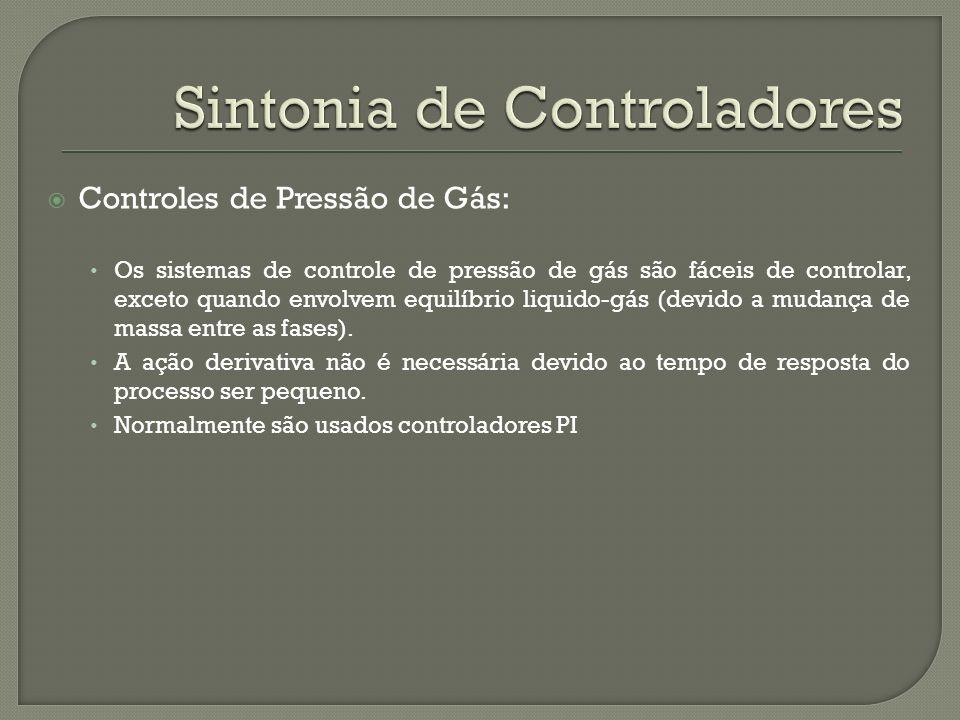 Controles de Pressão de Gás: Os sistemas de controle de pressão de gás são fáceis de controlar, exceto quando envolvem equilíbrio liquido-gás (devido
