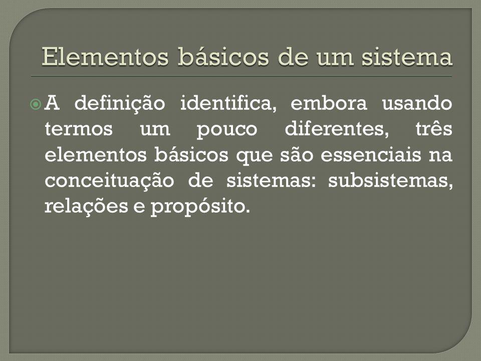 A definição identifica, embora usando termos um pouco diferentes, três elementos básicos que são essenciais na conceituação de sistemas: subsistemas,