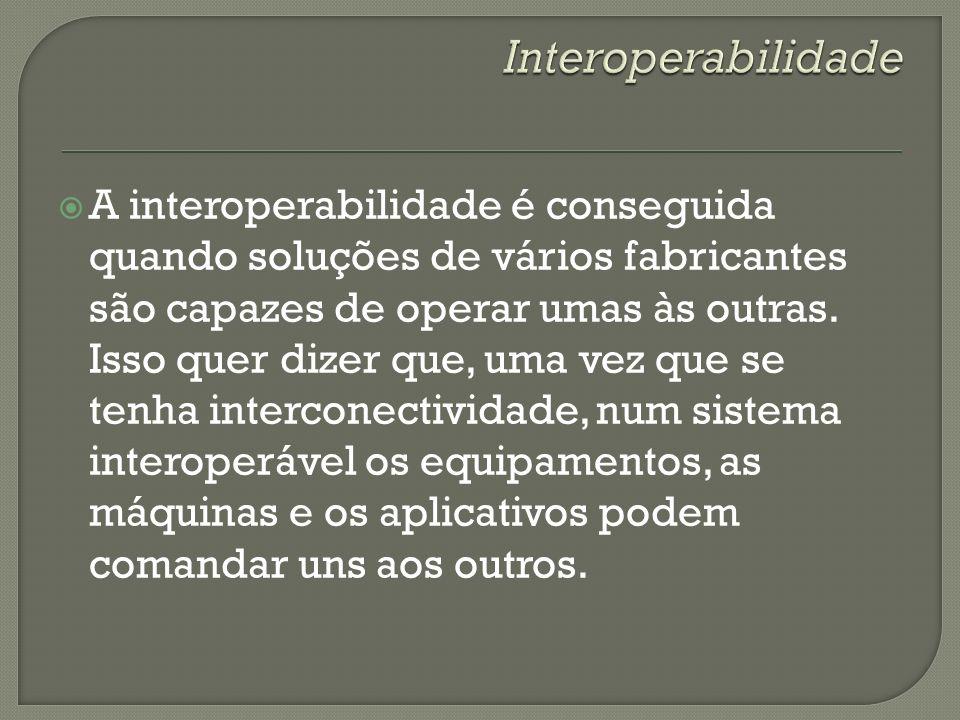 A interoperabilidade é conseguida quando soluções de vários fabricantes são capazes de operar umas às outras. Isso quer dizer que, uma vez que se tenh