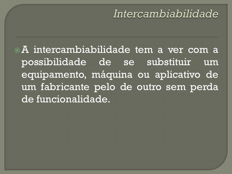 A intercambiabilidade tem a ver com a possibilidade de se substituir um equipamento, máquina ou aplicativo de um fabricante pelo de outro sem perda de
