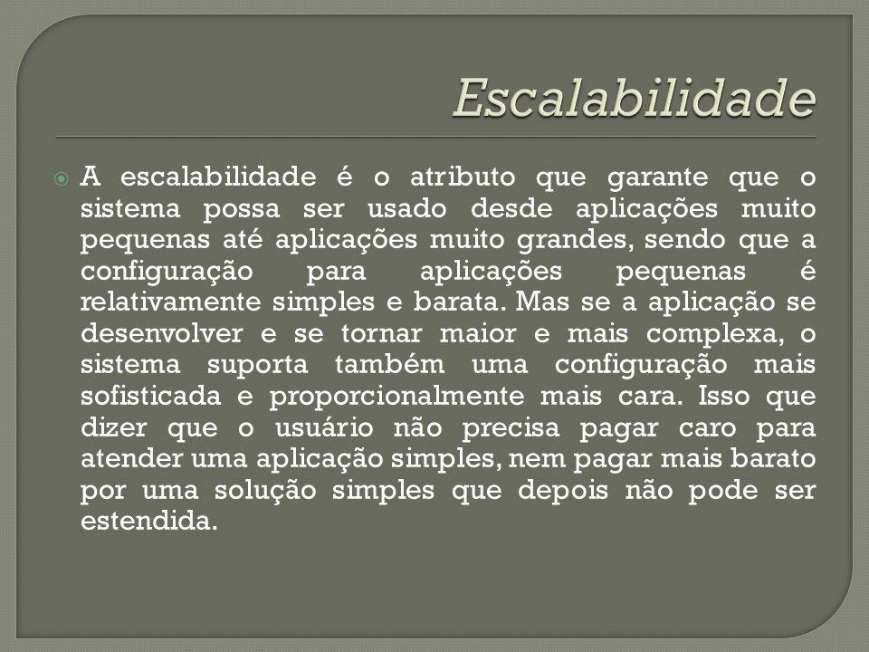 A escalabilidade é o atributo que garante que o sistema possa ser usado desde aplicações muito pequenas até aplicações muito grandes, sendo que a conf