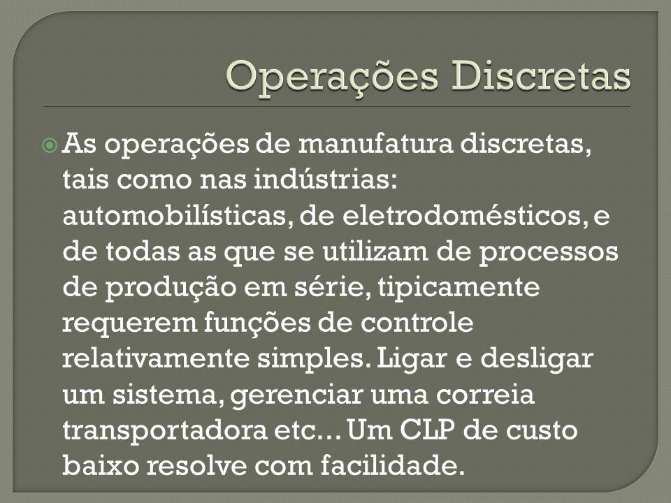 As operações de manufatura discretas, tais como nas indústrias: automobilísticas, de eletrodomésticos, e de todas as que se utilizam de processos de p