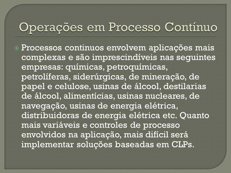 Processos continuos envolvem aplicações mais complexas e são imprescindíveis nas seguintes empresas: químicas, petroquímicas, petrolíferas, siderúrgic