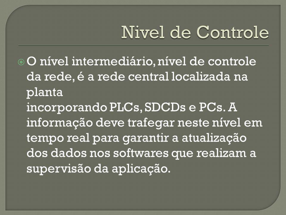 O nível intermediário, nível de controle da rede, é a rede central localizada na planta incorporando PLCs, SDCDs e PCs. A informação deve trafegar nes
