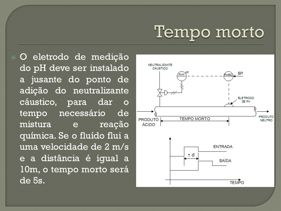 O eletrodo de medição do pH deve ser instalado a jusante do ponto de adição do neutralizante cáustico, para dar o tempo necessário de mistura e reação