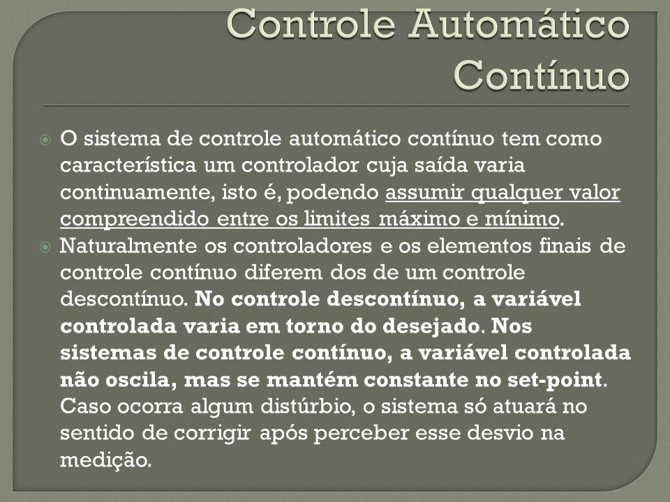 O sistema de controle automático contínuo tem como característica um controlador cuja saída varia continuamente, isto é, podendo assumir qualquer valo