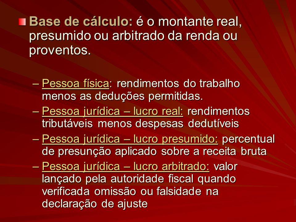 Base de cálculo: é o montante real, presumido ou arbitrado da renda ou proventos. –Pessoa física: rendimentos do trabalho menos as deduções permitidas
